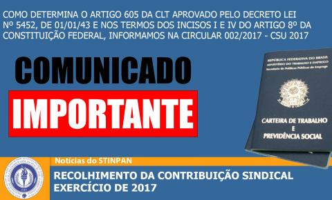 RECOLHIMENTO DA CONTRIBUIÇÃO SINDICAL EXERCÍCIO DE 2017