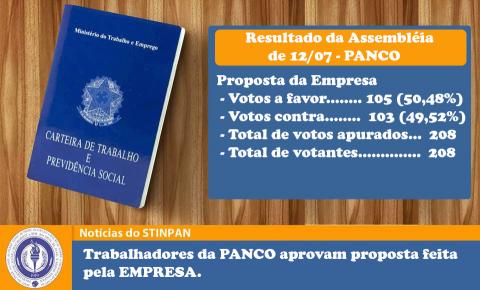 Trabalhadores da Panco aceitam proposta da empresa para reajuste!