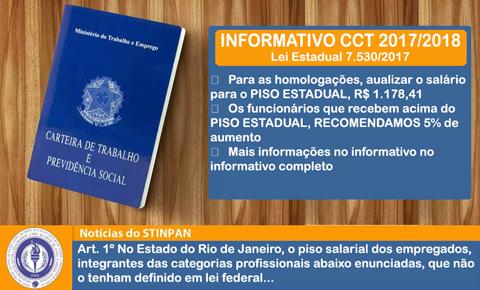 INFORMATIVO CCT2017/2018 – LEI DO ESTADO DO RJ Nº 7.530/2017