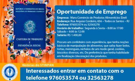OPORTUNIDADE DE EMPREGO – RJ | CONFEITEIRO