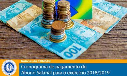 Cronograma de pagamento do Abono Salarial para o exercício 2018/2019